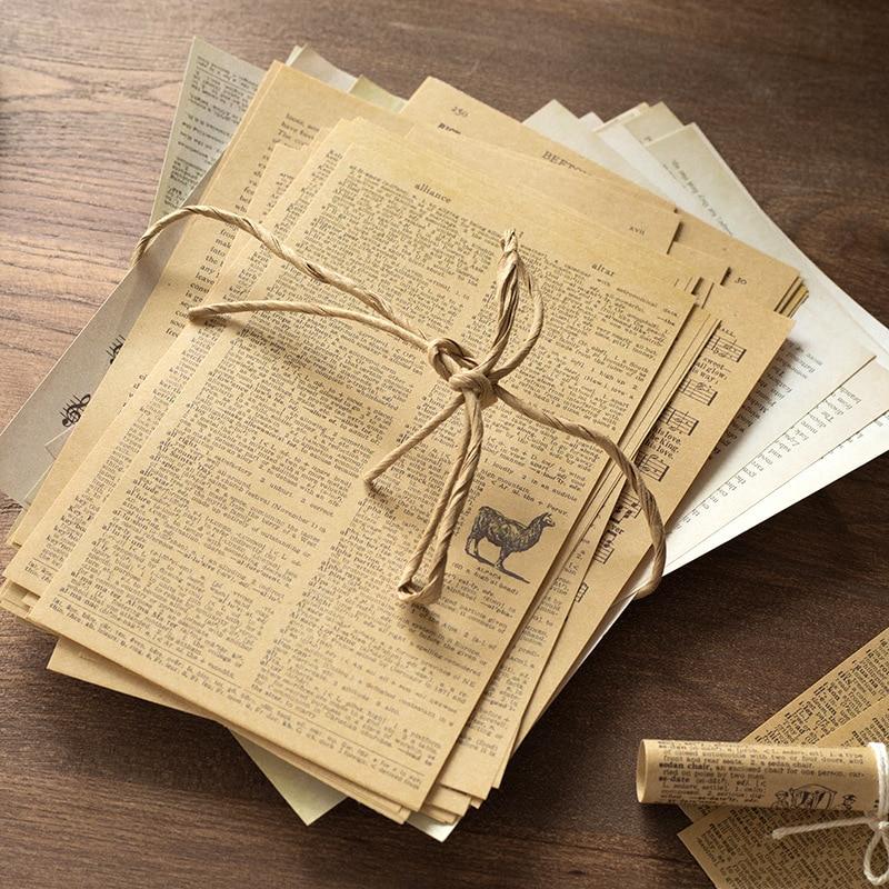 57 pçs do vintage kraft material de papel diy scrapbooking lixo base de jornal colagem presente embrulho decoração material papel