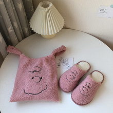 Pink Women Slippers Warm Indoor Sneakers Fur Slides Winter Slippers Cute Plush Shoes Girl C