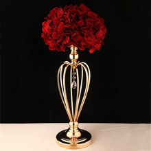 Wedding Iron Flowers Vases Candle Holders Road Lead Table Centerpiece Metal Stand Candlestick For Wedding Party Candelabra