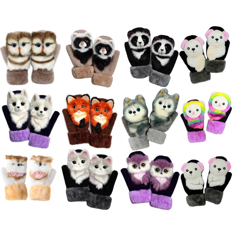 Women Men Winter Knitted Gloves Cute 3D Fluffy Cartoon Animal Decor Thickened Plush Lining Outdoor Windproof Thermal Warm Mitten