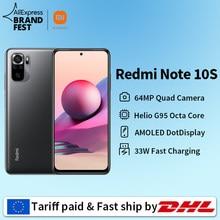 [Lançamento mundial Em estoque] Xiaomi Redmi Note 10S Versão global Smartphone 64MP Câmera Helio G95 5000mAh 33W AMOLED DotDisplay