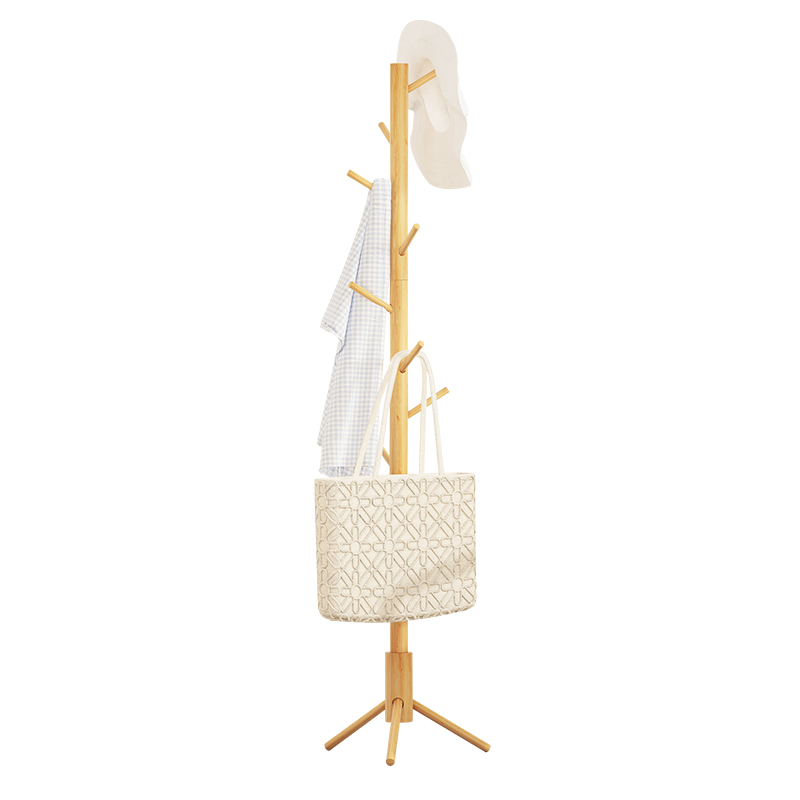 New Simple Wood Coat Rack Assembled Living Room Hat Clothing Display Stand Multi Hooks Hanging Clothes Home Furniture WJ122516