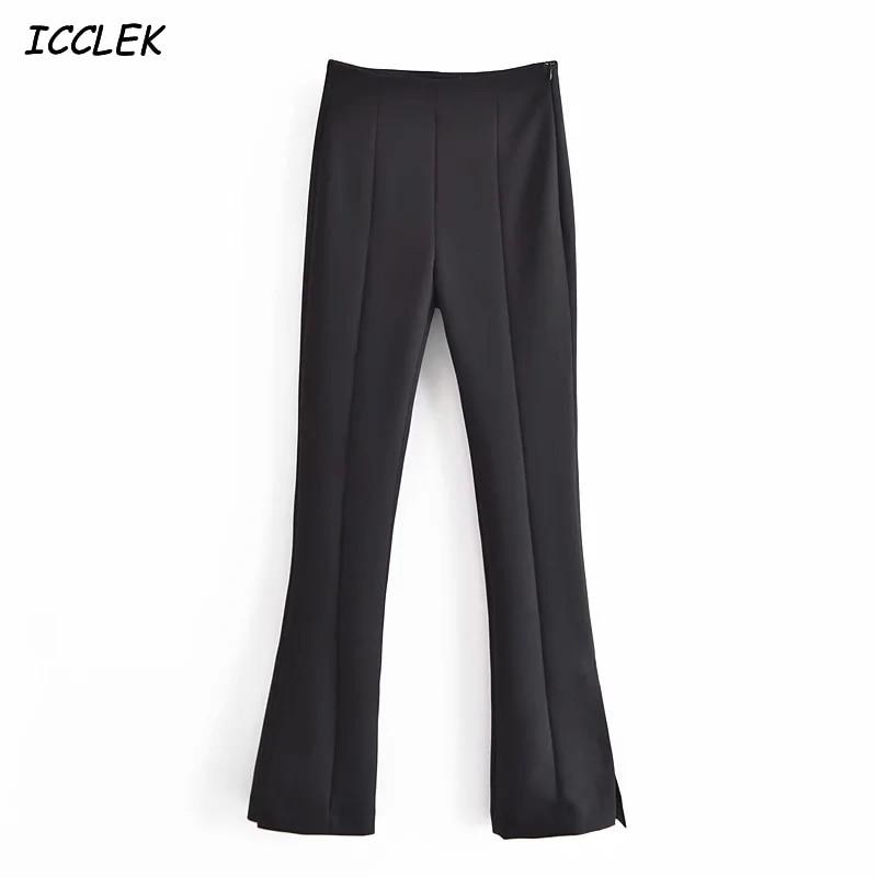 Za Women's Pants Flare Pants Black High Waist Trousers Female Spring Skinny Office Ladies Pant Workwear Solid Split Pant Casual