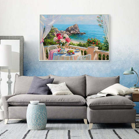 HUACAN 5D Diamond Painting Flower Vase River Landscape Home Decoration Cross Stitch Kit Mosaic Beaded Picture Full Square Drill Karachi