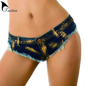 TASTIEN Sexy Women Shorts Jeans Super Mini Gilding Denim Vintage Casual Booty Summer Clubwear Ripped Thong