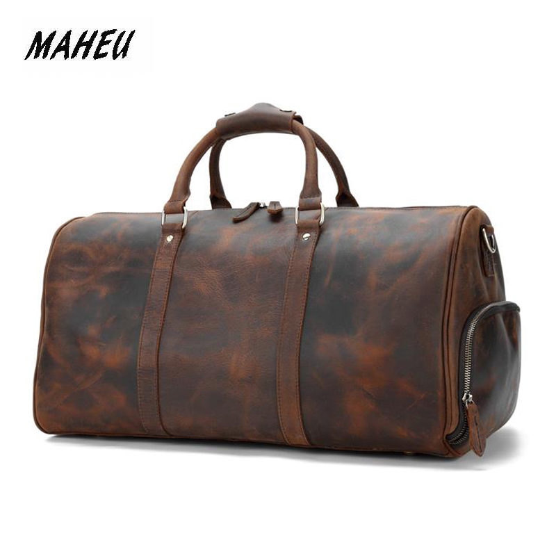 MAHEU Vintage Genuine Leather Travel Bag For Men Crazy Horse Leather Travel Duffle Large Shoulder Bag Cowhide Bag Weekend Bag