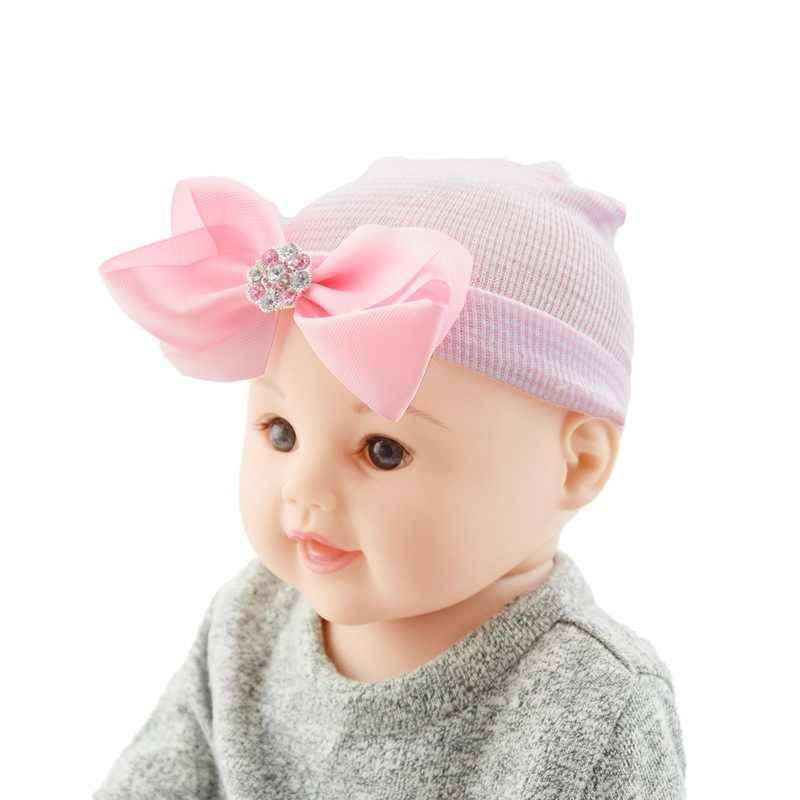 ทารกแรกเกิดหมวกลายเด็กวัยหัดเดินเด็กหมวกอบอุ่นนุ่มโรงพยาบาลสาวหมวกโบว์ Beanies สำหรับทารกแรกเกิดเช่นของขวัญ 10*12 ซม.
