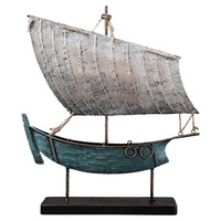 Mediterranean Style American retro wrought iron sailing ornaments wine cabinet shop decorations crafts furnishings sailboat