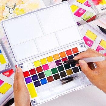 12/18/24/36 Colors Solid Watercolor Paint Set Professional Box with Paintbrush Portable Watercolor Pigment Set Art Supplies