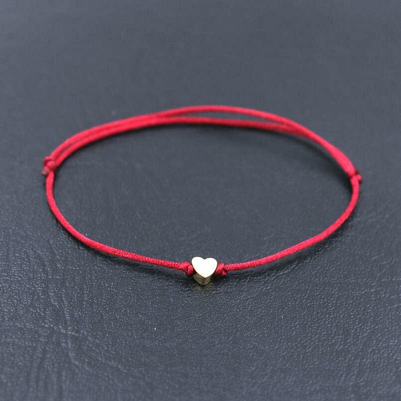 BPPCCR Handmade нержавеющей стали khd «любящее сердце» Форма браслет тонкая красная веревочная нить строка браслеты для мужчин и женщин