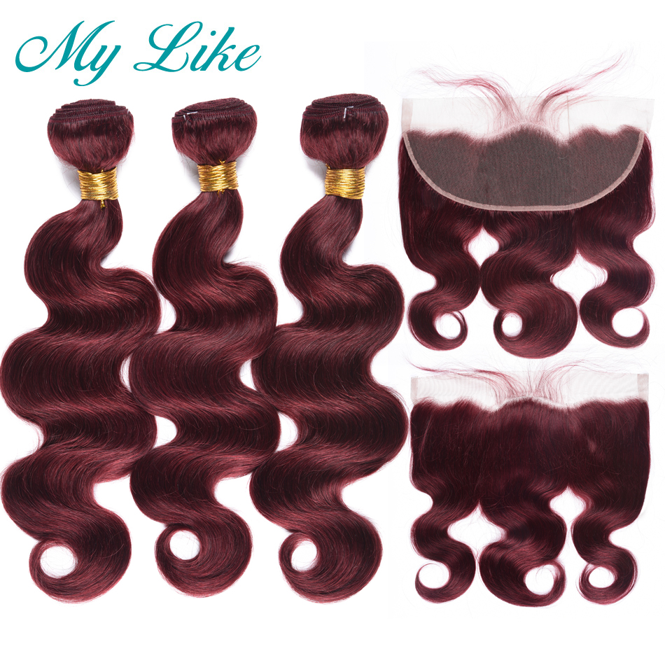 My Like 99J Burgundy Peruvian Human Hair Weave 3 Bundles With Frontal Non-remy Red Body Wave Bundles With Closure Lace Frontal