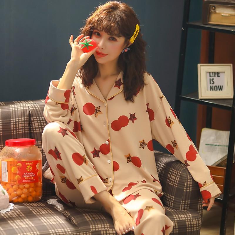 Autumn Winter Warm Comfortable Pajama M-3XL Women Plus Size Sleepwear Set Simple Cotton Women's Set Cardigan Button Pyjamas 3