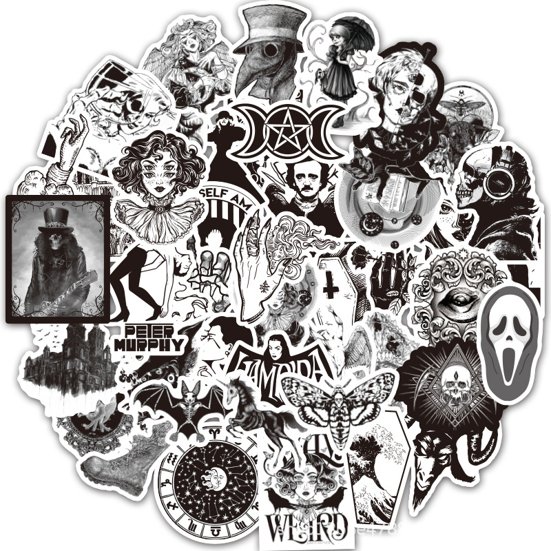10/30/50Pcs Black White Gothic Wind Sticker Horror And Thriller Graffiti Sticker For Laptop Bicycle Skateboard Car Decal Sticker