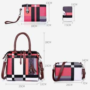 Image 5 - Gradosoo チェック柄パターンハンドバッグ 4 セット女性革財布とハンドバッグ女性のタッセルショルダーバッグ女性クロスボディバッグ LBF651