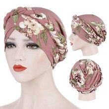 Foulard turban musulman en coton imprimé pour femmes, Foulard arabe portefeuille, hijab intérieur islamique
