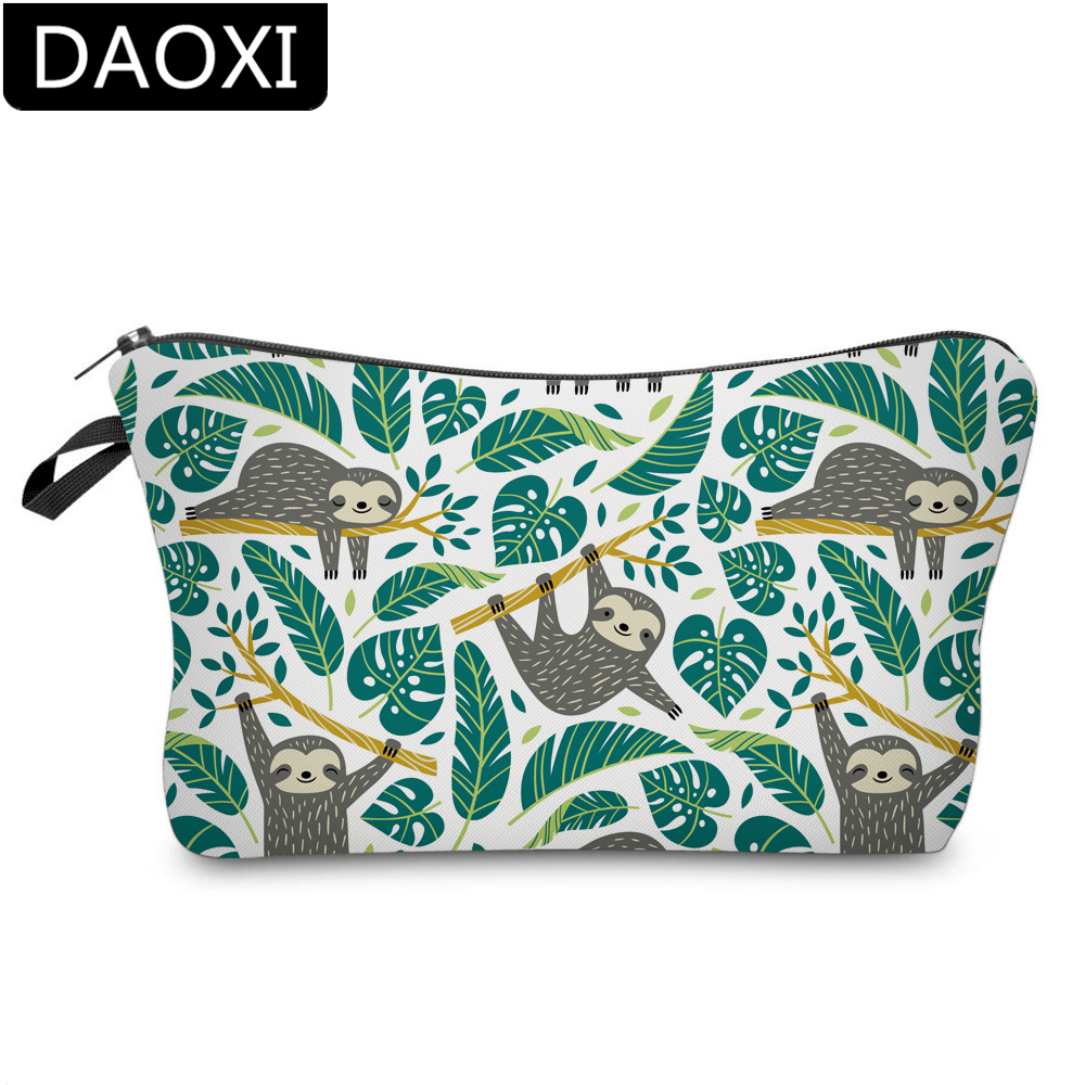 DAOXI 3D Printing Sloth Cosmetic Bags Roomy Makeup Bag For Travel DX51476