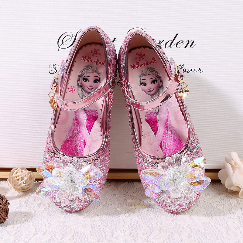 Girls Party shoes Princess Shoes Leather Glitter Crystals Rhinestones Knot Kids Shoes Elsa sneaker|Sneakers| |  - title=