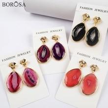 BOROSA 4Pairs Gold/Silver Bezel Drop Shape Agates Slice Earring Gems Rainbow Druzy Earrings Jewelry WX1176