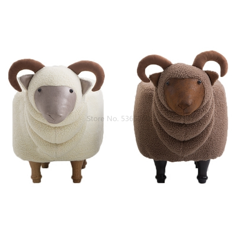 Originality Goat Changing Shoes Stool Solid Wood Footstool Sofa Stool Designer Furniture Sheep Stool Admission Store Can Wash