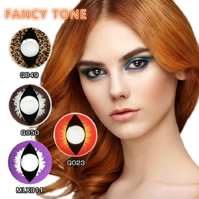 [FANCY TONE]  1 Pair Cat Eye Halloween Contacts Crazy Contact Lens for cosplay Cosmetic Contacts Lenses Eye Color 1