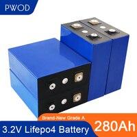 Batteria 280Ah LiFePO4 4-48 pezzi 3.2V 12v 24v 48v confezione nuova versione completamente abbinata originale grado A cella Inverter esente da tasse con sbarra collettrice