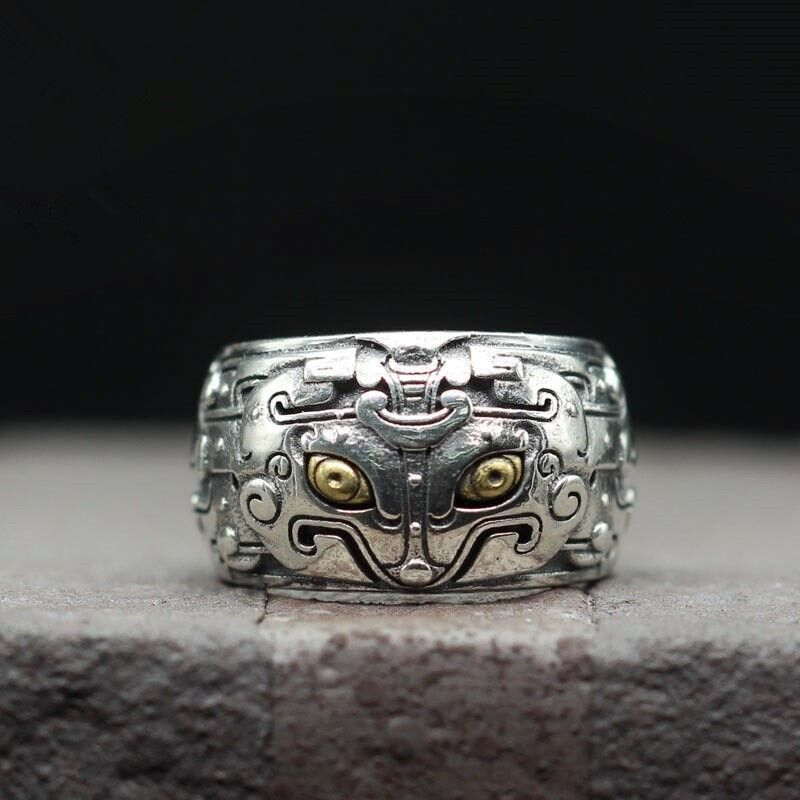 Thai Silver Personality Retro Style Ring Domineering Carved Gluttonous Men's 100% Sterling Silver 925 Jewelry 14mm Width