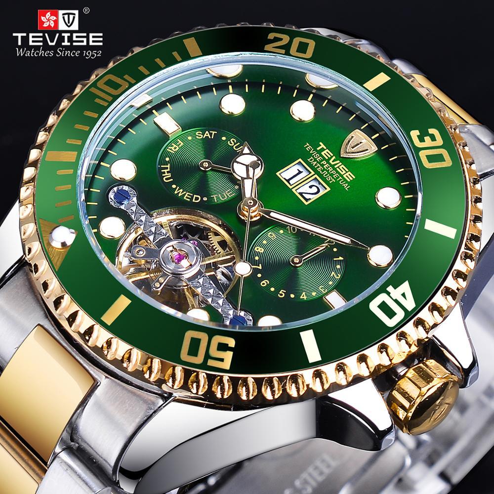 TEVISE Green Dial Golden Stainless Steel Mens Business Sport Design Luxury Tourbillion Men Automatic Sport Wrist Watch Top Brand
