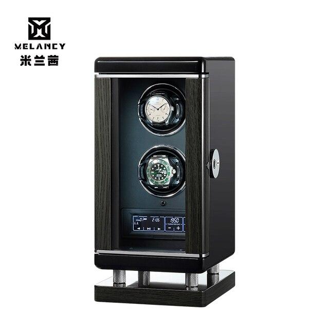 Nouveauté noir Double montre remontoir pour 2 automatique mécanique montres boîte bijoux affichage boîte montre remontoir Caja De Relojes