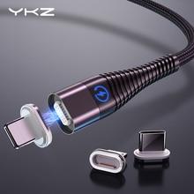 Câble magnétique pour iPhone Samsung YKZ 3A charge rapide aimant téléphone câble USB Micro USB Type C câble aimant chargeur et synchronisation des données