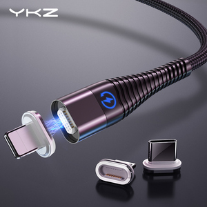Image 1 - Câble magnétique pour iPhone Samsung YKZ 3A charge rapide aimant téléphone câble USB Micro USB Type C câble aimant chargeur et synchronisation des données