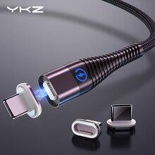Kabel magnetyczny do iphonea Samsung YKZ 3A szybki ładowanie magnes telefon kabel USB Micro USB typ C kabel magnes ładowarka i synchronizacja danych