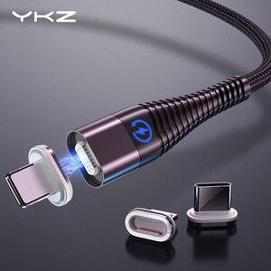 Image 1 - מגנטי כבל עבור iPhone סמסונג YKZ 3A מהיר טעינה מגנט טלפון USB כבל מיקרו USB סוג C כבל מגנט מטען & נתונים סנכרון