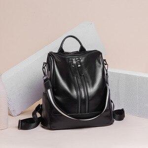 Image 5 - 2019 Vintage Bayan Sırt Çantası Yüksek Kaliteli Gençlik Deri gençler için sırt çantaları Kızlar Kadın Okul omuzdan askili çanta Sırt Çantası mochila