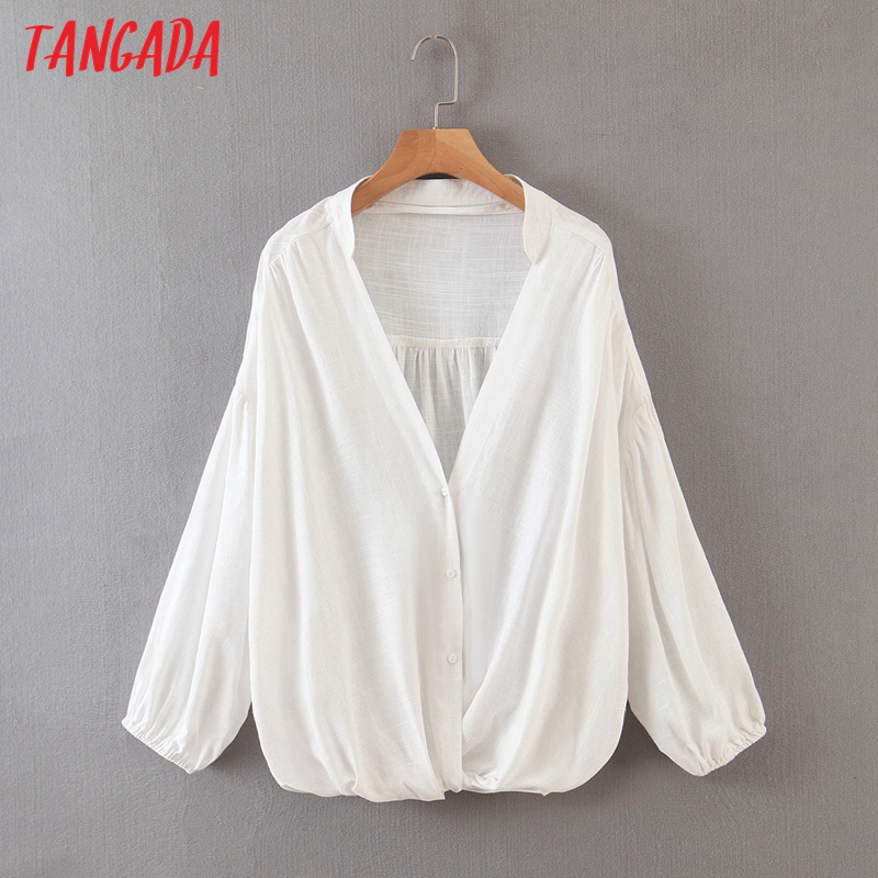 Tangada 2020 autumn women loose white shirts long sleeve solid v-neck female casual blouses SL545