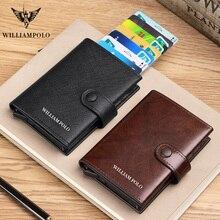 WILLIAMPOLO 100% Erkekler Hakiki deri cüzdan Lüks Marka Çantalar erkekler için RFID Kart Kılıf İnce Cüzdan hediye Kredi kart tutucu