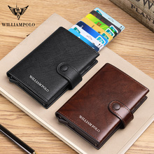WILLIAMPOLO 100% Men Genuine Leather Wallet Luxury Brand Purses for men RFID Card Case Slim Wallet gift Credit Card Holder