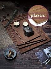 Direct selling new melamine plastic rectangular tray household tea cup tray creative plate retro imitation wood teapot tea tray