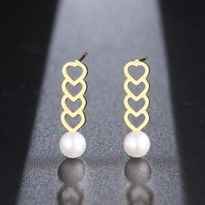 Серьги DOTIFI из нержавеющей стали 316L, Изысканные жемчужные геометрические серьги в форме сердца, серьги для помолвки и свадьбы для женщин, ювелирные изделия