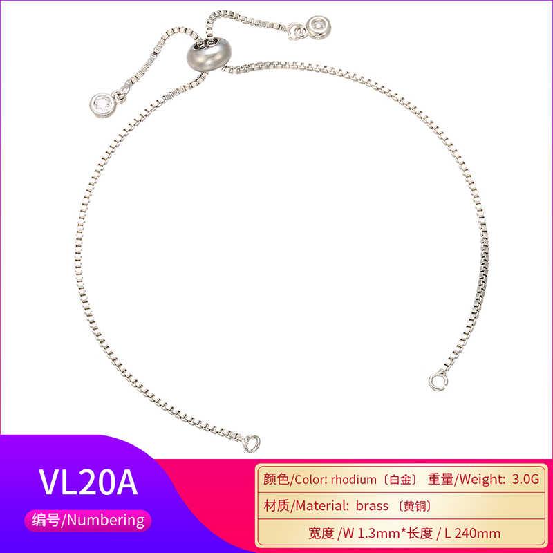 Catena di braccialetto regolabile in ottone con strass in ottone 1.3x240mm per gioielli che fanno accessori per catene per braccialetti fai-da-te modello: VL20