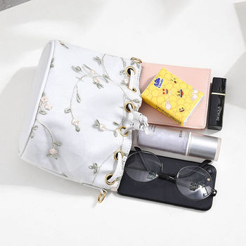 Luxury  Embroidered PU Leather Chain Crossbody Bucket Bag 6