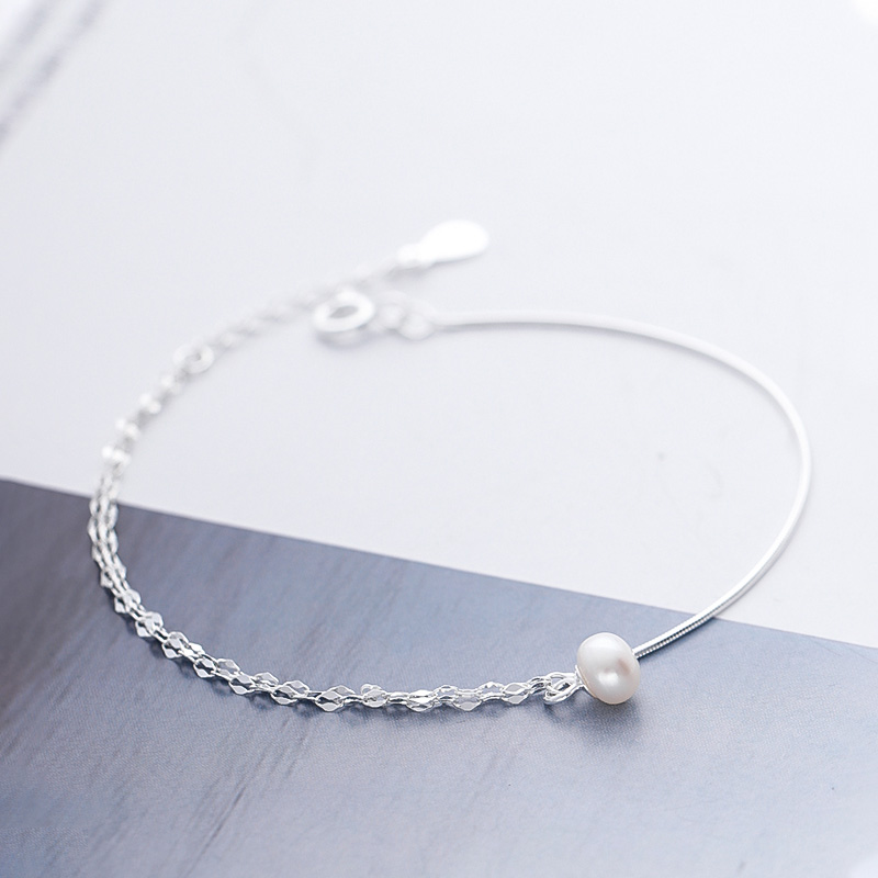 Pearl Double Layer Anklets silver 925 jewelry Fashion Double Chain Leg Bracelet simple charm Foot Jewelry Accesorios Gifts