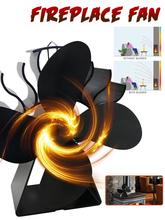 Upgraded Fireplace Fan 4 Blades Heat Powered Stove Fan Aluminium Silent Eco-Friendly For Wood Log Burner Silent Warmth Winter