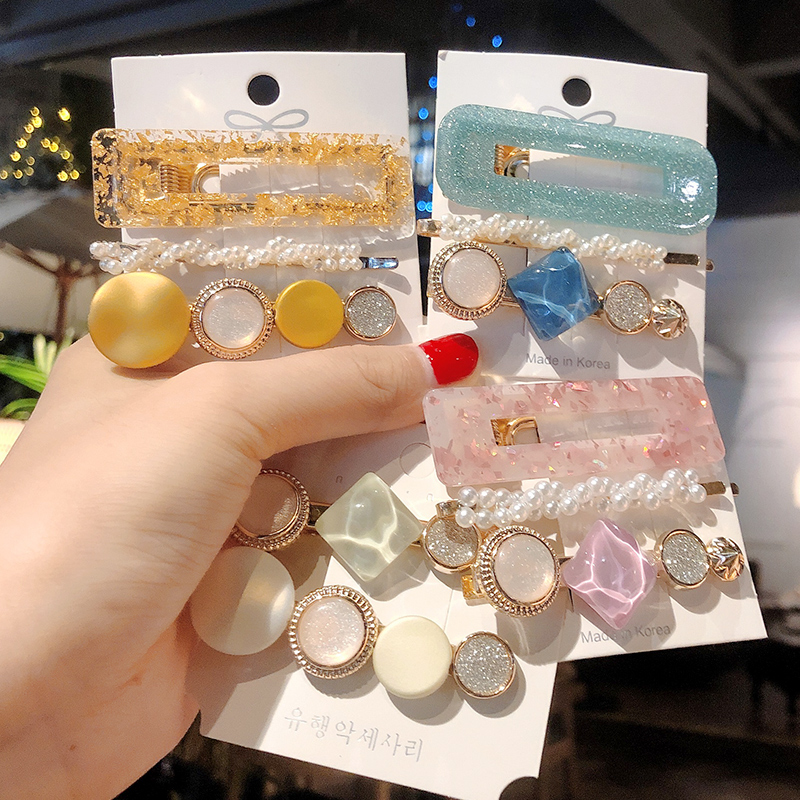 1/Set Colorful Pearls Acetate Combination Hair Clips For Women Girls Sweet Headband Hairpins Barrettes Fashion Hair Accessories