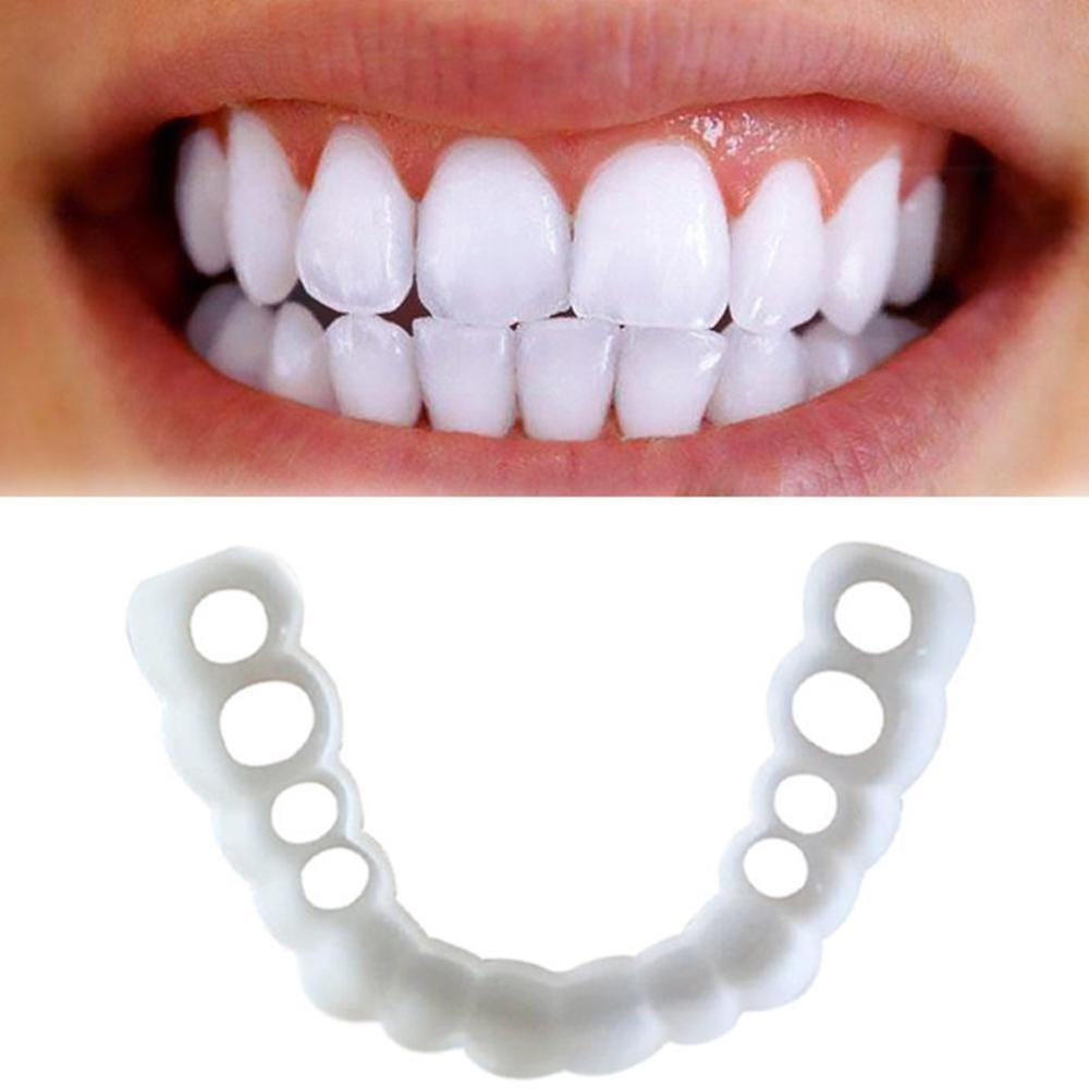 Simulation Tooth Braces Silicone Teeth Veneer Cover Snap On Smile Denture Whitening Mouthpieces Orthodontic Appliance Trainer