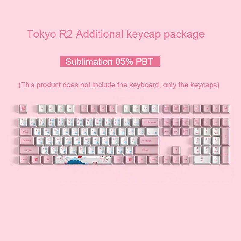New Cherry blossom keycap Tokyo R2 supplementary package 85% PBT sublimation mechanical keyboard cover CHERRY axis 108 universal