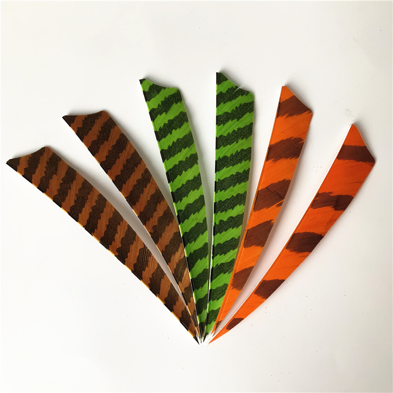 36Pcs 5Inch Shield Arrow Fletching Striped Feathers Archery Fletches Feathers