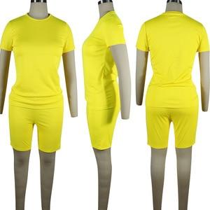 Image 5 - HAOYUAN 2 Stück Set Frauen Trainingsanzug Festival Kleidung Neon Crop Top und Biker Shorts Sexy Club Outfits Zwei Stück Passenden sets