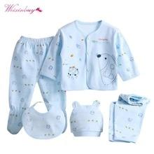 WEIXINBUY/комплект одежды для маленьких мальчиков и девочек, 5 шт./компл., комплект одежды для новорожденных, Брендовое мягкое нижнее белье из хлопка с героями мультфильмов для детей 0-3 месяцев