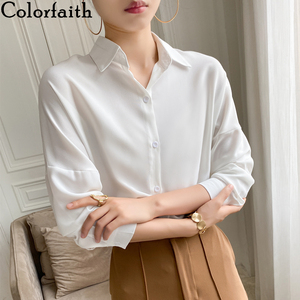 Colorfaith New 2020 Summer Women's Blouse Solid Multi Colors Lapel Single-breasted Elegant Casual Oversize Wild Pink Tops BL1383(China)