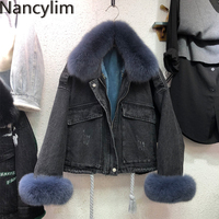 Real Fox Fur Collar Denim Jacket Women 2019 Winter Coat Loose Fox Fur + Faux Rabbit Fur Liner Detachable Coat for Women Jacket